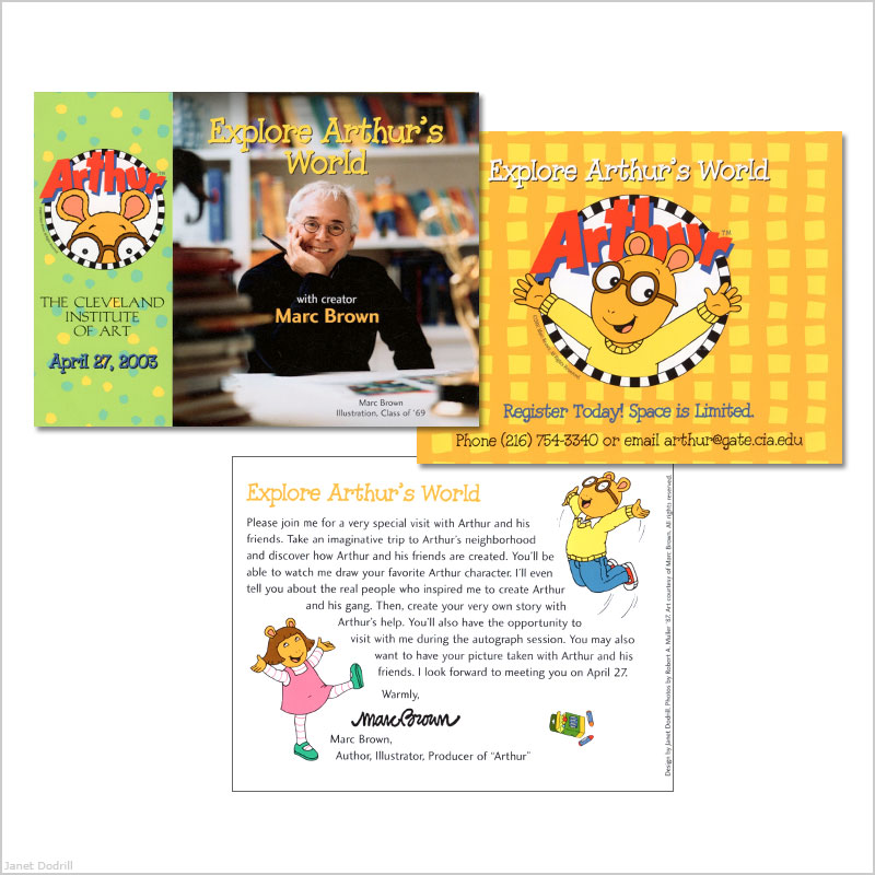 Janet Dodrill – The Cleveland Institute of Art – Marc Brown (Alumni, Creator of Character 'Arthur') Fundraising Event Invitation
